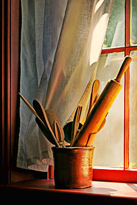 Crock Photograph - Kitchen Utensils - Window by Nikolyn McDonald