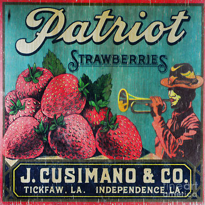 Kitchen - Vintage Strawberry Sign Art Print by Paul Ward