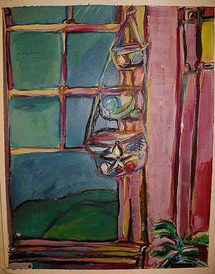 Painting - Kitchen Window With Baskets by Karen Geiger