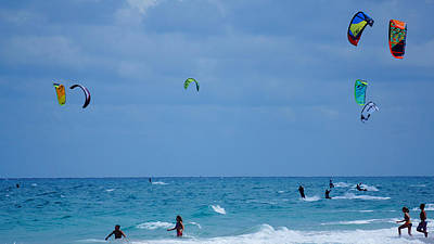 Photograph - Kite Boarders And Swimmers Delray Beach Florida by Lawrence S Richardson Jr