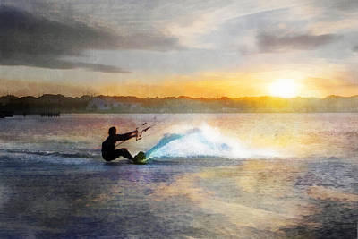 Kite Boarding At Sunset Art Print