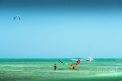 Photograph - Kiteboarding Caribbean Sea by David Zanzinger