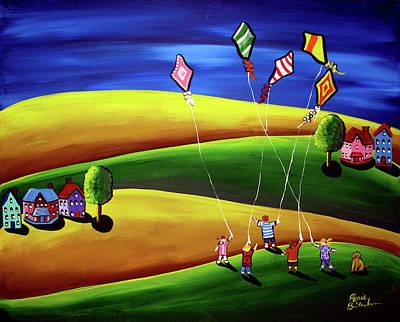 Children Flying Kite Painting - Kite Flyers  by Renie Britenbucher