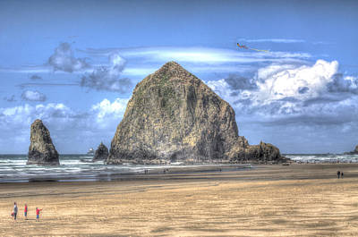 Photograph - Kite Flying At Haystack Rock by Don Wolf