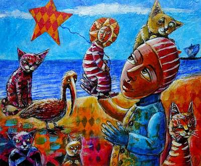Painting - Kite Flying At The Beach by June Walker