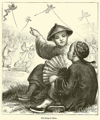 Old Friends Drawing - Kite Flying In China  by English School