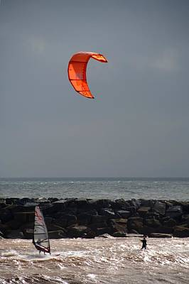 Photograph - Kite Surfer And Wind Surfer by Chris Day