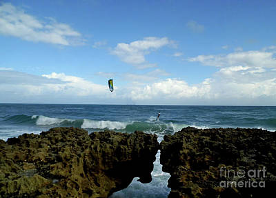 Photograph - Kite Surfer At Blowing Rocks by D Hackett