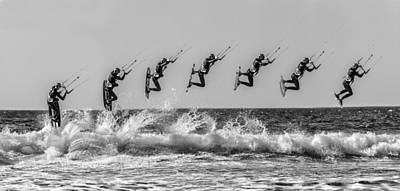 Surfing Photograph - Kite Surfer In Monochrome Multiple Shot by Russ Dixon