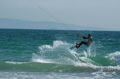 Kite Surfer Jumping Over A Wave Art Print