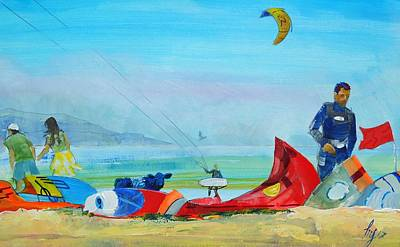 Kites Mixed Media - Kite Surfing At Exmouth by Mike Jory