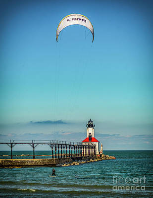 Photograph - Kite Surfing  In Michigan City by Nick Zelinsky