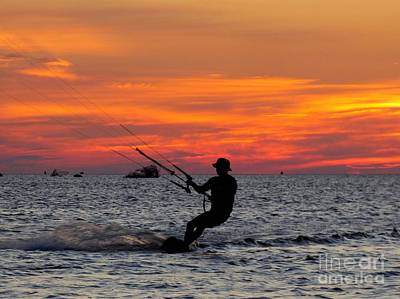 Photograph - Kiteboarding At Sunset  by Jean Wright