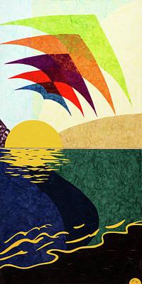 Wall Art - Mixed Media - Kites At Eventide by CJ Peltz