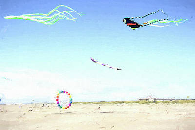 Photograph - Kites At Ocean Shore  by Cathy Anderson