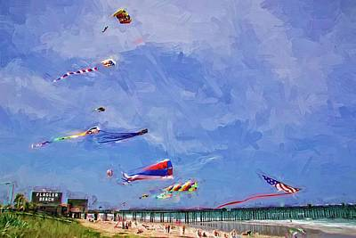 Photograph - Kites At The Flagler Beach Pier by Alice Gipson