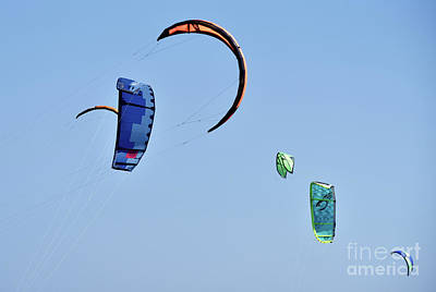 Photograph - Kites In The Sky, While Kite Surfing by George Atsametakis