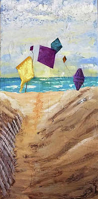 Beach Landscape Mixed Media - Kites On The Beach by Sharon Eng