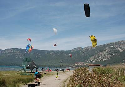 Photograph - Kitesurfing At Akcapinar Gokova Akyaka Turkey by Taiche Acrylic Art