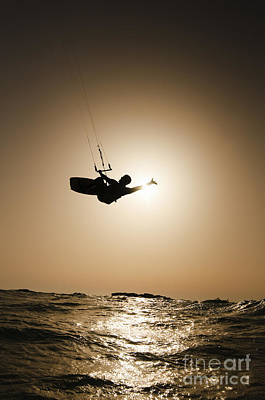 Kite Photograph - Kitesurfing At Sunset by Hagai Nativ