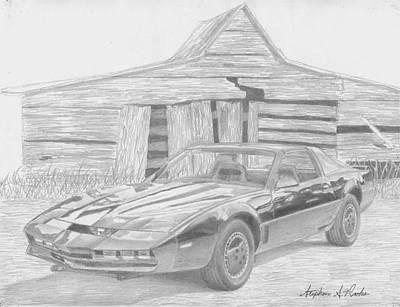 Pontiac Drawing - Kitt From Knight Rider Classic Car Art Print by Stephen Rooks