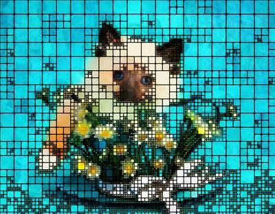 Digital Art - Kitten Among The Flower by Mario Carini