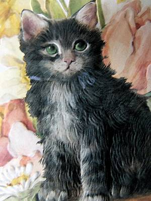 Mixed Media - Kitten And Floral by Florene Welebny