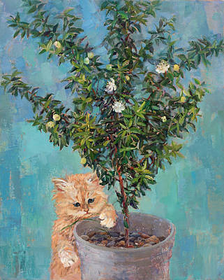 Painting - Kitten And Flowering Myrtle by Galina Gladkaya