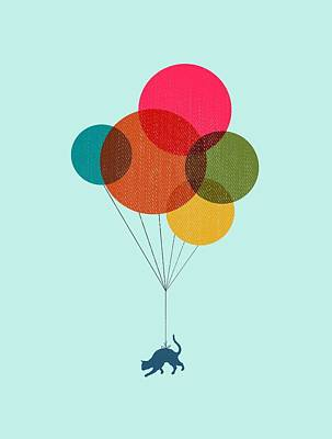 Kitten Digital Art - Kitten Baloon Trip by Illustratorial Pulse