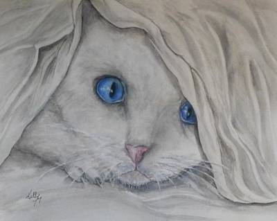 Painting - Kitten In A Blanket by Kelly Mills