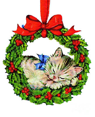 Digital Art - Kitten In A Christmas Wreath by Rafael Salazar