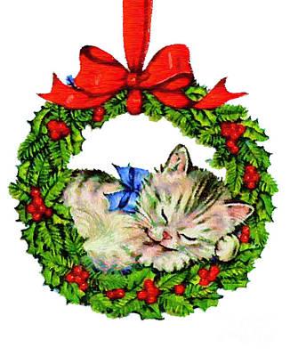 Digital Art - Kitten In A Christmas Wreath by Rafael Salazar
