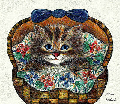 Mixed Media - Kitten In Basket by Natalie Holland