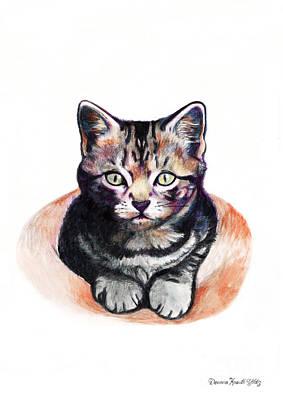 Orange Tabby Drawing - Kitten In Waiting by Deanna Yildiz