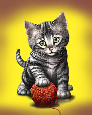Cute Kitten Digital Art - Kitten Playing With Ball Of Yarn by Walt Curlee
