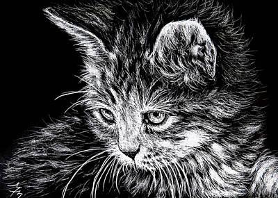 Kitten - Sa110 Art Print by Monique Morin Matson