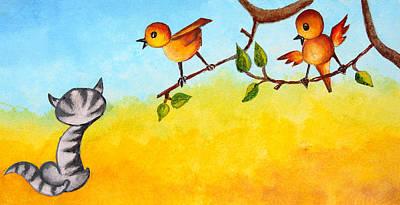 Kitten Scaring The Birds Art Print