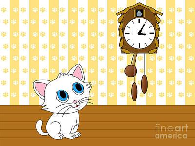 Cuckoo Digital Art - Kitten Watching Cuckoo Clock by Miroslav Nemecek