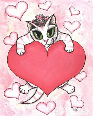 Art Print featuring the painting Kitten With Heart by Carrie Hawks