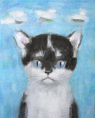 Kitten With Three Clouds Art Print