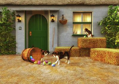 Painting - Kittens Discovering Easter by Jan Keteleer