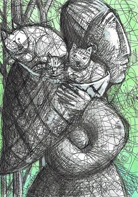 Drawing - Kittens In A Basket by June Walker
