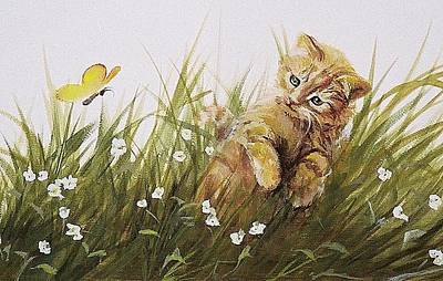 Painting - Kitty And Butterfly by Suzn Art Memorial