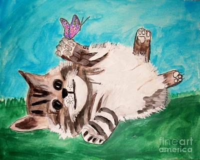 Painting - Kitty And Butterfly by Victoria Hasenauer