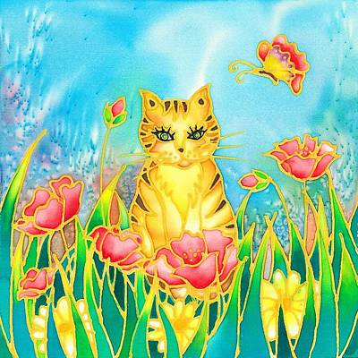 Painting - Kitty And Poppies by Hisayo Ohta