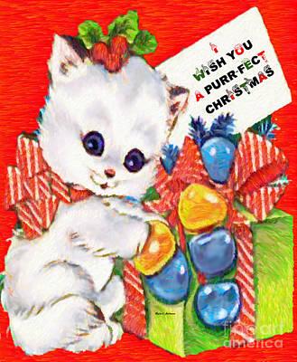 Digital Art - Kitty At Christmas Time by Rafael Salazar
