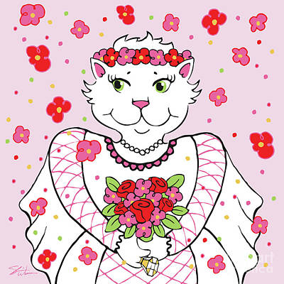 Digital Art - Kitty Bride by Shari Warren