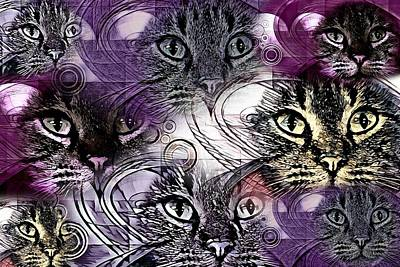 Cabochon Wall Art - Digital Art - Kitty Cat Collage By Artful Oasis 1 by Artful Oasis