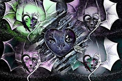 Cabochon Digital Art - Kitty Cat Collage By Artful Oasis 12 by Artful Oasis
