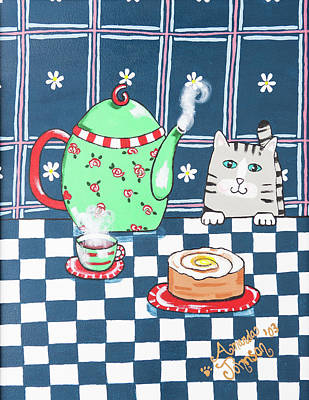Painting - Kitty Cat Tea Time by Amanda Johnson
